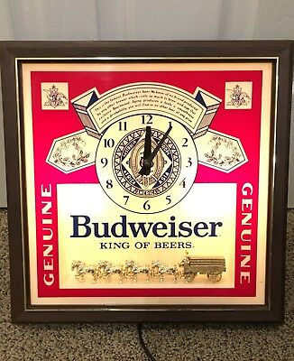 Budweiser King Of Beers Clydesdale Lighted Clock