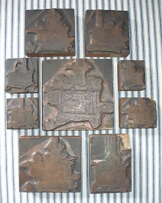 Collection 9 RARE c. 1900 Cast Iron Toy Stove Printers Blocks, Letterpress, OLD