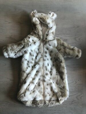 Restoration Hardware Baby & Child Faux Fur Baby Bunting Grey 0-6 Mo Snow Leopard