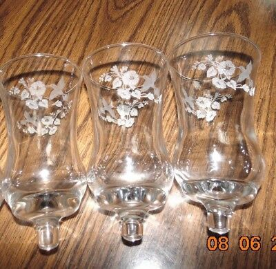3 HOME INTERIOR ETCHED HUMMINGBIRD  LARGE VOTIVE Cups flowers birds sconce lot