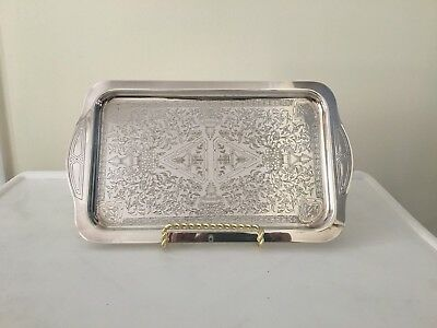Silver Plate Embossed Floral Pattern Tray W.M.A. Rogers Canada