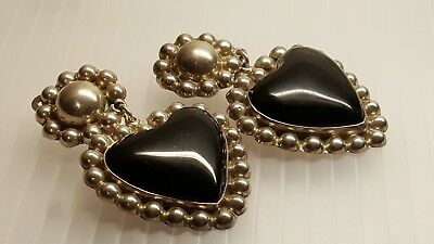 Vintage TAXCO Tr-95 MEXICAN 925 SOLID SILVER ONYX Stone HEART earrings ETHNIC