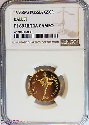 Russia 1995 Gold 50 Rubles. Sleeping Beauty Ballet. Ngc Pf-69 Ultra Cameo.