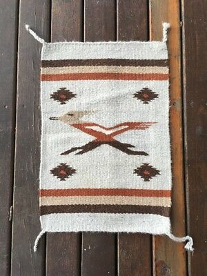 """Vintage Native American Mexican Hand Woven Pictorial Rug  20.5"""" By 13.5"""""""