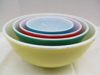 Vintage  Pyrex Nesting Primary Colors Mixing Bowls ~ Red Green Blue Yellow