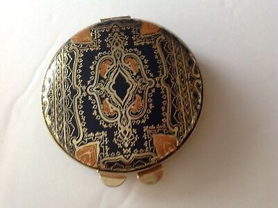 Powder COMPACT Italian FLORENTINE Tooled & Gilt Gold Leather 1960's Never Used