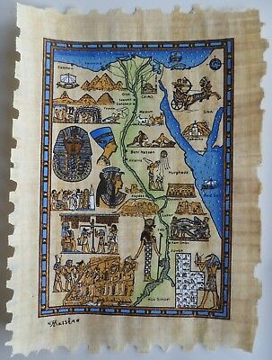 Papyrus Painting From Egyptian Art Caravan of The Map of Ancient Egypt