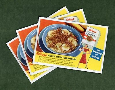 """3 KELLOGG'S KRUMBLES (CEREAL) Ink Blotters - 3¾""""x5½"""", c1940, Great Cond"""