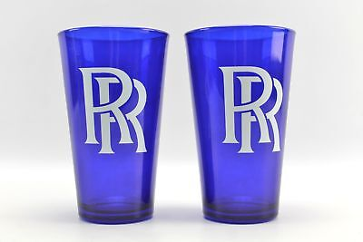 (2) Blue Rolls Royce Advertising Water Glasses Cups