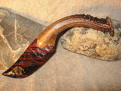 Curved Triple Flow Obsidian Knife Black Powder Mountain Man Flint Knapping