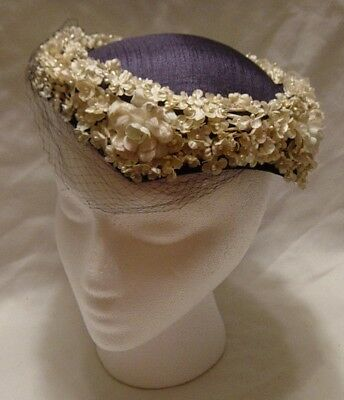 Vtg. Navy Women's Hat W/netting Surrounded By White Flowers With Pearl Centers