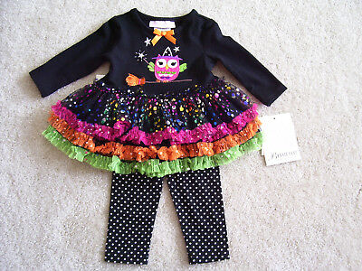 Bonnie Baby Halloween Owl 2 pc Outfit Size 3-6 mo NWT