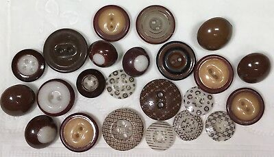 Antique China Buttons Brown Calicos Bullseye Solids Inkwell 23 Total!!