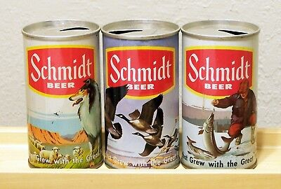 "**3 c. 1960s SCHMIDT scenic ""yellow band"" indoor SS beer cans from St. Paul, MN"