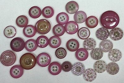 Antique China Buttons Pink Calicos Solid Ringers Inkwell 37 Total!!
