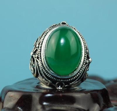 Collect China hand-made silver inlay jade carve flower ring a02