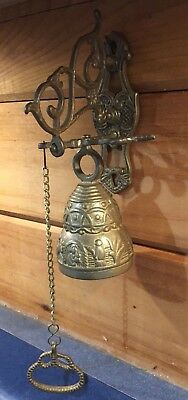 Vintage Brass Hanging Pull Chain DINNER DOOR BELL Wall Mount