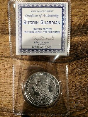 Bitcoin Guardian Commemorative 1 oz .999 Silver Round BU LOW COA 00939 ⬇of10000