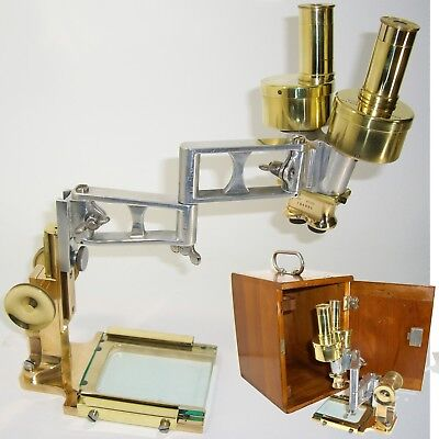 1927 Antique BINOCULAR Stereoscopic Dissecting MICROSCOPE Bausch LOMB vintage
