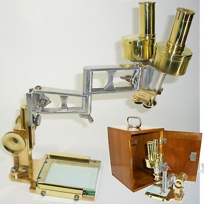 1927 Antique SURGICAL MICROSCOPE BINOCULAR Stereoscopic Bausch LOMB vintage