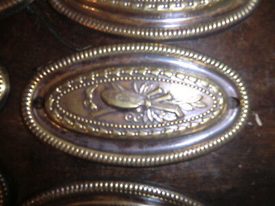 8 Antique style chest pull plates bronze no reserve.