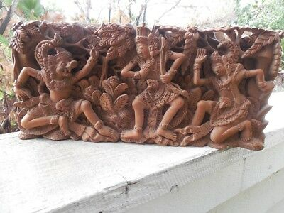 """Vintage Detailed Ornate Indonesian Balinese Carved Wooden Panel 3D 15"""" X 7"""""""