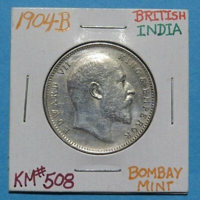 1904-B INDIA One Rupee Silver Coin AU+ Cond. Edward King & Emperor British Rule.