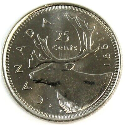 Canada 1991 *Key Date* 25 Cents UNC Choice BU!!