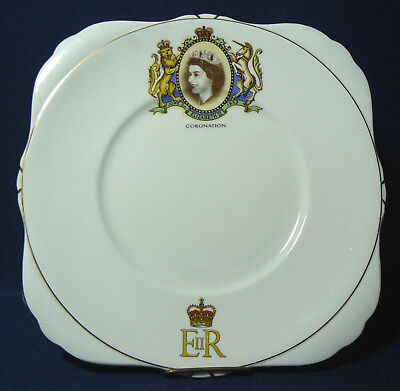 "Royal Grafton Bone China Queen Elizabeth II Coronation 8"" Square Plate"