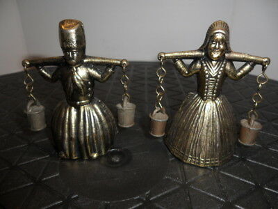 Pair Of Vintage Dutch Boy And Girl Bells
