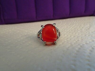 Sterling Silver Ring With Large Carnelian Cabochon Stone - size 8