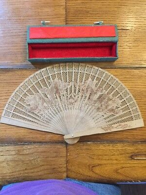 Fine Antique Chinese Export Carved Sandalwood Dragon Fan