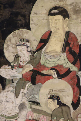 JAPANESE HANGING SCROLL ART Painting Buddhism Asian antique  #E3926