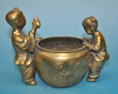 chinese old copper hand-carved young boys and girls and pot statue f02