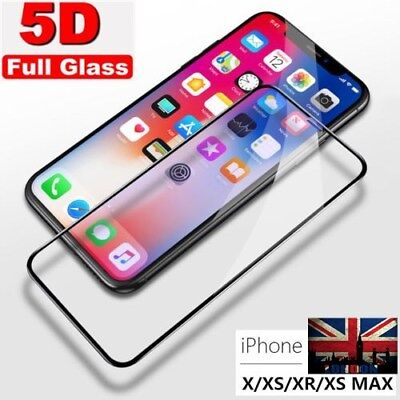 2Pcs 5D Curved Tempered Glass Screen Protector Film For Apple iPhone Xs Max 6.5""