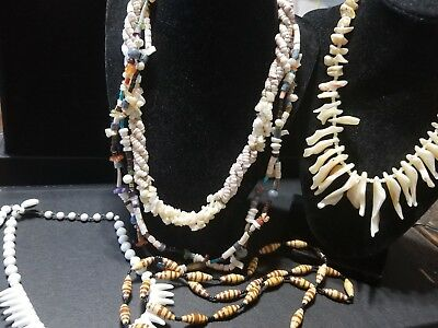 LOT of AUTHENTIC VINTAGE SHELL Jewelry Hawaiian Beach Puka Necklaces