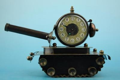 chinese old copper hand-carved tank clock h02