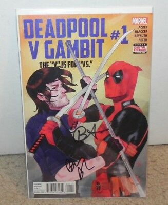 Deadpool V Gambit #1 Dual Signed Ben Acker / Blacker Midtown Certificate