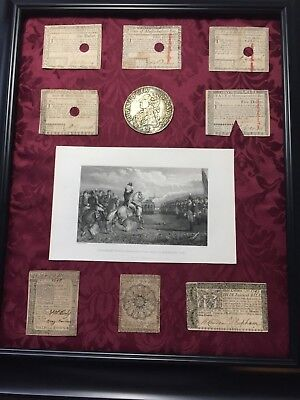 Colonial Currency Collection Old-Authentic (8) Us Notes & Rare-Washington-Print