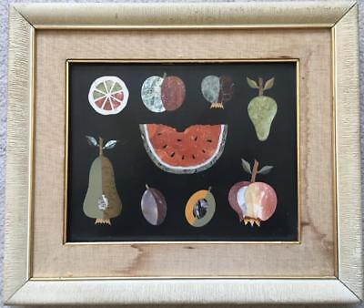 LARGE Pietra Dura Plaque 1960s Italy Signed Nice!