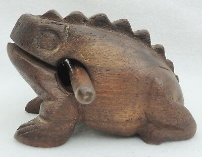 Vintage Mandalay Box Co. Hand Carved Wood Frog Toad Music Maker Instrument 4913