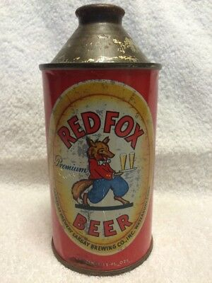Red Fox Premium Beer Cone Top Can Withdrawn Free  Waterbury, Connecticut