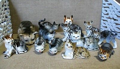 Vintage Ceramic Cat Lot of 13 Tabby Cats Gray Brown Halloween Décor Figurines