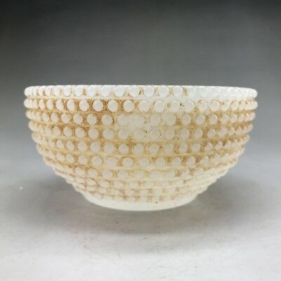 Chinese ancient glass bowl is handmade and unique in shape