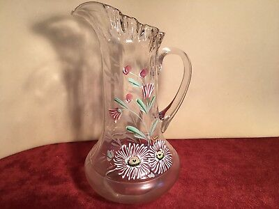 Large Hand Painted Heavy ENAMEL Victorian Glass TANKARD PITCHER