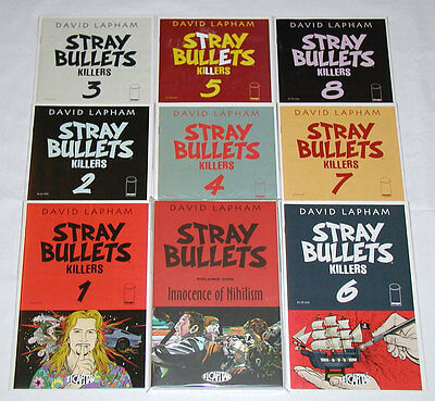 Stray Bullets Killers #1-8 Complete Set (1st Prints) + Innocence of Nihilism TPB