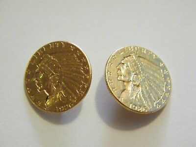 Two Gold 2 1/2 Dollar Coins (Quarter Eagle)  Made Into Buttons Scrap Or Use