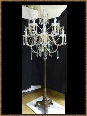 "Antique French 6 feet 3"" Tall Solid Bronze & Crystal Floor Candelabra Chandelier"
