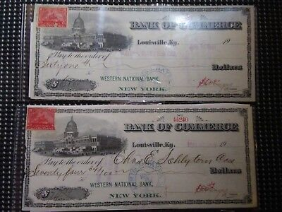 1901 Checks Bank of Commerce Louisville KY Documentary Stamp American Bank Note