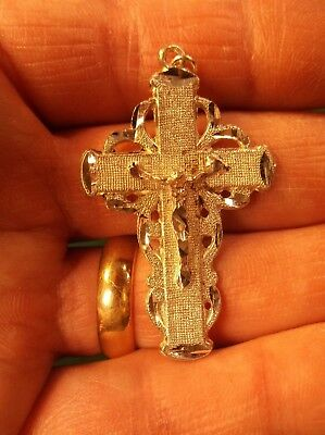 N/M COND LADIES or GIRLS STERLING SILVER PENDANT - FAT or WIDE CRUCIFIX CROSS